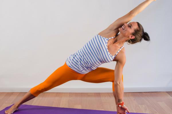 warrior 2 yoga asanas exercise strength dance flow series health wellness asmy australia gold coast extended side angle