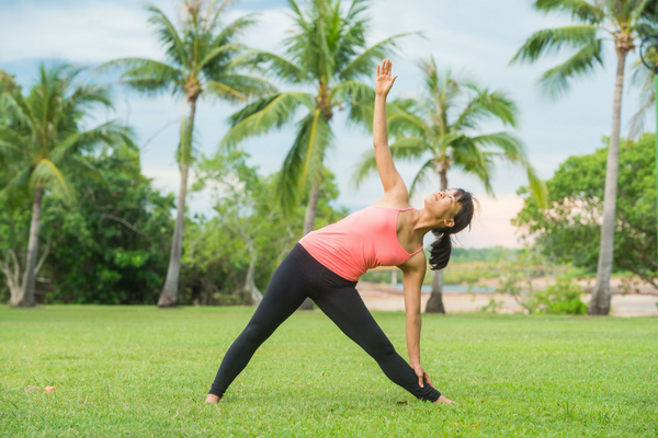 warrior 2 yoga asanas exercise strength dance flow series health wellness asmy australia gold coast triangle