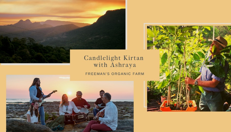 ashraya freemans organic farm market candlelight acoustic music band gold coast nature sunset sacred sounds asmy the mantra room spirituality meditation community free event