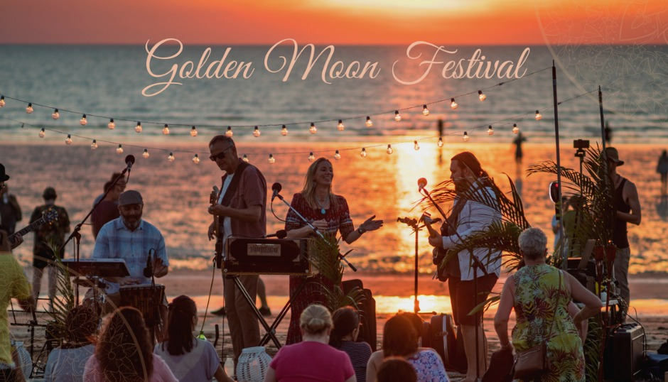 golden moon festival kirtan meditation mindfulness live music burleigh heads beach community free event ashraya the mantra room asmy gold coast spirituality fun picnic