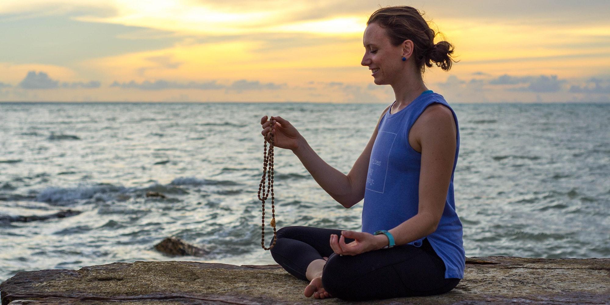 meditation sunset japa beads